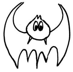 Fledermaus#2 - Zeichnung, Anlaut F, flattern, gruselig, Halloween, Tiere, fliegen, Säugetier, Nacht