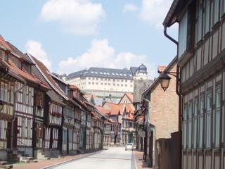 Altstadt und Schloss - Stolberg / Harz - Architektur, Stolberg, Harz, Schloss, Straße, Fachwerk, Altstadt, Fluchtpunktperspektive