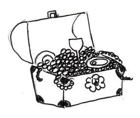 Schatztruhe - Schatztruhe, Pirat, Überraschung, Anlaut Sch, Erzählanlass, Schreibanlass, verschlossen, geöffnet, öffnen, schließen, Reichtum, Schatz, Schätze, Schatzkiste, Kiste, Perlen, Schmuck, Wörter mit tz