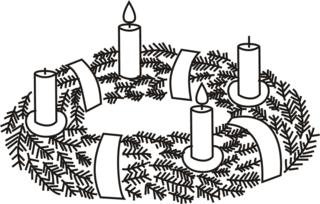 Adventskranz---2 - Advent, Adventszeit, Vorweihnachtszeit, Weihnachten, Adventssonntag, Adventskranz, Kerze, Kerzen, brennen, zwei, zweite, Kranz, Licht, Anlaut A, Anlaut K, Wörter mit v
