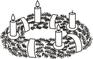 Adventskranz---3 - Advent, Adventszeit, Vorweihnachtszeit, Weihnachten, Adventssonntag, Adventskranz, Kerze, Kerzen, brennen, drei, dritte, Kranz, Licht, Anlaut A, Anlaut K, Wörter mit v