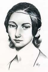 Clara Schumann - Bleistiftzeichnung - Clara, Schumann, Komponist, Komponistin, Komponistenporträt, Komponistenportait