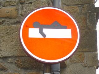 Sens interdit #2 - Sens interdit, Einfahrt, Durchfahrt, Verbot, Einfahrtsverbot, Durchfahrtsverbot, Einbahnstraße, verboten, untersagt, Strichmännchen, Graffiti