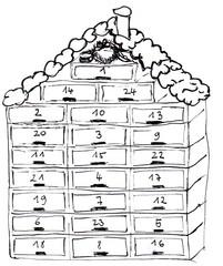 Aventskalender - Adventskalender, Weihnachtskalender, Türchen, öffen, Brauchtum, christlich, Zählhilfe, Adventszeit