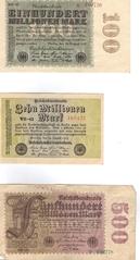 Geldscheine - Mark, Geld, Geldschein, Note, Geldnote, Banknote, Papiergeld, Inflation, inflationär, 1923, Reichsbank, Reichsbanknote, Geldentwertung, Wertverlust, Millionen