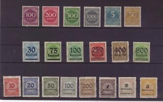 Briefmarken  - Mark, Inflation, inflationär, Geldentwertung, Wertverlust, 1923, Briefmarke, Deutsches Reich, Aufdruck, Tausend, Millionen, Milliarden, Milliarde