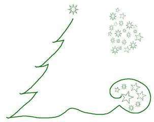 Weihnachtsgrafik - grün, weihnachtlich, Fest, Gestaltung, gestalten, Illustration, Baum, Sterne, Stern, Sternenwolke, Advent
