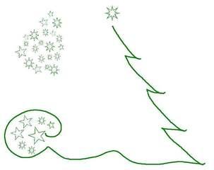 weihnachtliche Grafik - grün, weihnachtlich, Fest, Gestaltung, gestalten, Illustration, Baum, Stern, Sterne, Sternenwolke, Advent