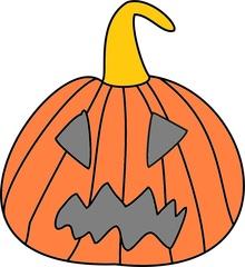 Kürbis mit Fratze - Kürbis, Halloween, Gesicht, Fratze, gruselig, gruseln, Jack O'Lantern, Anlaut K, Herbst, Jahreszeit