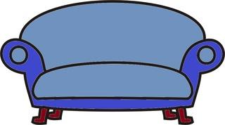 Sofa blau - Sofa, alt, Couch, relaxen, schlafen, entspannen, liegen, Anlaut S, Möbel, Möbelstück