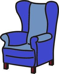 Sessel blau - Sessel, Stuhl, Sitz, Lehne, Anlaut S, Sitzmöbel, Armlehne, Ohrensessel, Lehnsessel, Polstermöbel, Sitzgelegenheit, Möbel, Möbelstück, sitzen