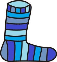 Socke blau - Socke, gestreift, Streifen, stinken, Ringelsocke, geringelt, Anlaut S, Strumpf, Wörter mit ck
