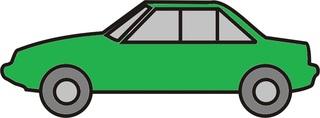 Auto grün - Auto, PKW, Personenwagen, fahren, Straße, Anlaut Au, Kraftfahrzeug, KFZ