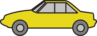 Auto gelb - Auto, PKW, Personenwagen, fahren, Straße, Anlaut Au, Kraftfahrzeug, KFZ