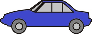 Auto blau - Auto, PKW, Personenwagen, fahren, Straße, Anlaut Au, Kraftfahrzeug, KFZ