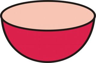 Schüssel rot - Müslischüssel, Geschirr, Anlaut Sch, Gefäß, leer, kochen, backen, Küchengerät, Küchenhelfer, Küchenutensilie, Zeichnung, Wörter mit Doppelkonsonanten