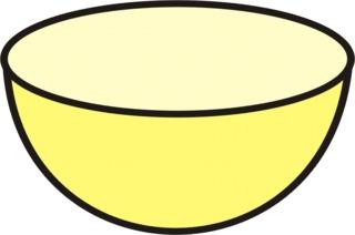 Schüssel gelb - Müslischüssel, Geschirr, Anlaut Sch, Gefäß, leer, kochen, backen, Küchengerät, Küchenhelfer, Küchenutensilie, Zeichnung, Wörter mit Doppelkonsonanten