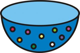 Schüssel bunt - Müslischüssel, Geschirr, Anlaut Sch, Gefäß, leer, kochen, backen, Küchengerät, Küchenhelfer, Küchenutensilie, Zeichnung, Punkte, Wörter mit Doppelkonsonanten