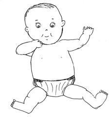 Baby #2 - Baby, Kleinkind, Kind, sitzen, Zeichnung, Illustration, Anlaut B