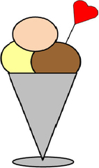 Eisbecher - Eisbecher, Eis, drei, Kugel, Kugeln, Becher, Erdbeere, Vanille, Schokolade, Herz, Zeichnung, Illustration, Anlaut E