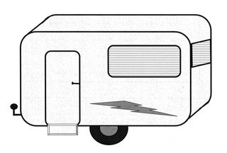 Wohnwagen - Wohnwagen, Camping, Urlaub, Ferien, wohnen, Zeichnung, Illustration, Campinganhänger