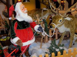 Weihnachtsmann #1 - Weihnachtsmann, Santa Claus, Father Christmas, Rentier, Rentiere, Schnee, rot, weiß, Bart