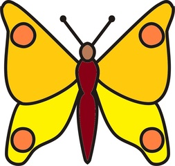 Schmetterling Gelbtöne - Schmetterling, Falter, fliegen, Anlaut Sch, Illustration, Symmetrie