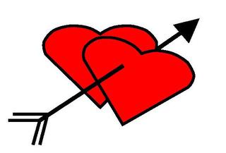 Herz #1 - Herz, Herzen, zwei, Pfeil, Amor, Liebe, verliebt, Zeichnung, Illustration, rot, Glück, Paar, Gefühl