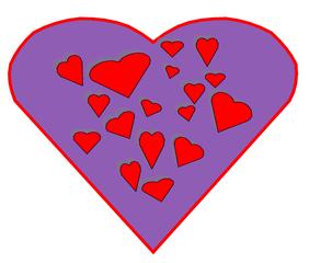 Herz #6 - Herz, Herzen, Liebe, Love, verliebt, Zeichnung, Illustration, rot, Glück, Gefühl, Kitsch, kitschig, lila