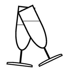 Sekt glas/Sektgläser - Sekt, Glas, Gläser, Prost, anstoßen, trinken, Getränk, Alkohol, Feier, Verlobung, verloben, Hochzeit, heiraten, Zweisamkeit, Liebe, lieben, prickeln, Verabredung, Zeichnung, Illustration, zwei