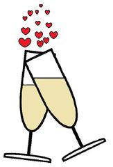 Sekt #4 - Sekt, Glas, Gläser, Prost, anstoßen, trinken, Getränk, Alkohol, Feier, Verlobung, verloben, Hochzeit, heiraten, Zweisamkeit, Liebe, lieben, prickeln, Verabredung, Zeichnung, Illustration, zwei, Herzen, Herz, verliebt, Love
