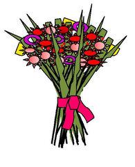 Blumenstrauß - Blumen, Blume, Strauß, Geburtstag, Geschenk, Valentinstag, Liebe, Glück, Freundschaft, Überraschung, Freude, Aufmerksamkeit, bunt, Zeichnung, Illustration, Muttertag, Wörter mit ß