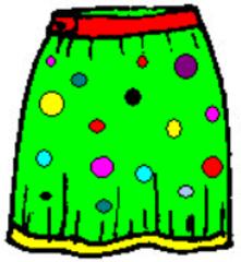 Rock - Rock, Kleidung, skirt, clothes, jupe, skirt, Kleidung, vêtements, Kleidungsstück, Bund, Anlaut R, bunt, Wörter mit ck, Punkte