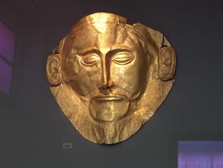 Goldmaske des Agamemnon - Griechische Mythologie, Mykene, Goldmaske, Agamemnon, Troja, Helena, Menelaos, Iphigenie, Grab, Schliemann, Maske, Gold, Kulturgut