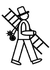 Schornsteinfeger #1 - Schornsteinfeger, Kaminkehrer, chimney sweep, kehren, Schornstein, Glück, Glücksbringer, Symbol, Zeichnung, Illustration, Beruf, schwarz, Ruß, Besen, Leiter, Zylinder, Rauchfangkehrer, Essenkehrer, Sottje, Schlotfeger