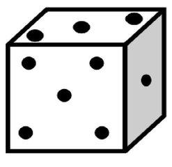 Würfel #3 - Würfel, würfeln, werfen, Spiele, spielen, Augenzahl, Zahl, Zahlen, eins, drei, fünf, Wahrscheinlichkeit, Punkt, Punkte, Kubus, Hexaeder, Körper, geometrisch, 6 Seiten, Kanten, Ecken, Quadrate, Zufall, Illustration, Zeichnung, rechnen, Glück