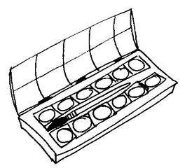 Farbkasten - Farbkasten, Tuschkasten, Malkasten, Deckfarbkasten, Wasserfarbkasten, malen, tuschen, Kunst, Kunsterziehung, Schule, Unterricht, Farbe, Farben, bunt, Pinsel, Schulsachen