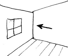 Zimmerecke - Zimmerecke, Ecke, Raum, Klassenraum, Zimmer, Haus, Wörter mit ck