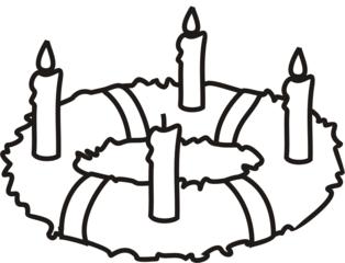 Adventskranz 3 - Adventskranz, Kerze, Kerzen, brennen, Advent, drei, vier, Menge, minus, Kranz, Anlaut A, Anlaut K, Wörter mit v