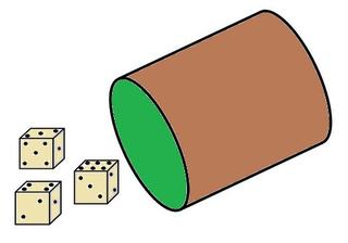 Würfelbecher farbig - Würfelbecher, Würfel, Becher, werfen, spielen, Spiel, Glück, gewinnen, Zahlen, Zahl, Ziffer, zählen, drei, addieren, Zeichnung, Illustration, braun, grün