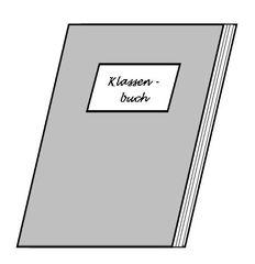 Klassenbuch - Klassenbuch, Dokument, Eintrag, Verspätung, Namen, Stundenplan, Hausaufgaben, Klasse, Illustration, Zeichnung