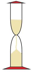 Sanduhr farbig - Sanduhr, Eieruhr, Zeit, Zeitmesser, Uhr, Sand, Minuten, messen, Dauer, Zeichnung, Illustration, rieseln, laufen, Glas