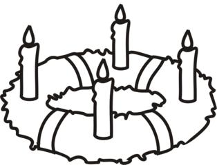 Adventskranz 4 - Adventskranz, Kerze, Kerzen, brennen, Advent, vier, Kranz, Anlaut A, Anlaut K, Wörter mit v