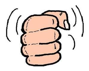 Faust - farbig - Faust, Hand, geballt, Finger, Daumen, kraftvoll, Kraft, kräftig, laut, Krach, krachend