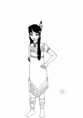 Indianerin - Indianer, Indianerin, Ureinwohner, Ureinwohnerin, Amerikaner, Amerikanerin, Amerika, Nordamerika, Native American, indigen, Ausmalen, Stabpuppe, verkleiden, Fasching, Karneval, Mädchen, Kostüm