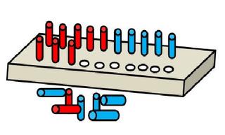 Steckbrett farbig - Steckbrett, stecken, rechnen, addieren, Addition, plus, minus, Subtraktion, Stecker, Brett, Illustration, Zeichnung, rot, blau