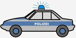 Polizeiauto - Polizeiauto, Polizeiwagen, Streifenwagen, Polizei, Streife, Auto, Wagen, KFZ, PKW, Fahrzeug, Zeichnung, Illustration, fahren, Blaulicht, blau, silber