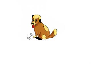 Kleiner Hund in Farbe - Hund, Hündin, Hündchen, Haustiere, Tier, Welpe, Illustration