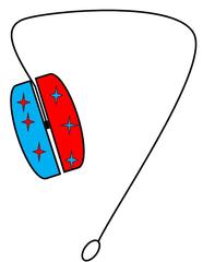 Jo-Jo, Yo-Yo farbig - Jo-Jo, Yo-Yo, Spiel, Spielzeug, Sport, Freizeit, drehen, Fliehkraft, Achse, Tricks, Schnur, Scheiben, zwei, Schlaufe, Zeichnung, Illustration