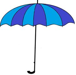 Regenschirm farbig - Regenschirm, Schirm, Regen, Zeichnung, Illustration, Wetter, Schauer, Schutz, Anlaut R, Anlaut Sch, blau